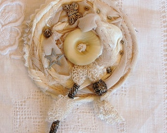 Ecru silk and lace Butterfly brooch