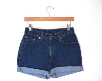 Vintage LEVI'S Dark Blue Wash High Waisted Rise Cut Offs Cuffed Rolled Denim Jean Shorts 27