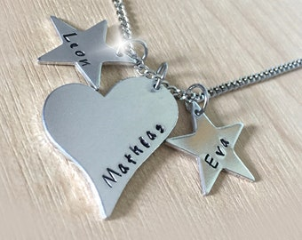 Our Little Stars Necklace, Childrens Names Necklace, Kids Names Necklace, 3 Names Necklace, Childs Name Charms, Three Family Names Necklace