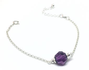 Silver bracelet 925/1000 and Swarovski Amethyst crystal.