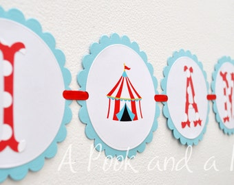Big Top Circus 1st Birthday I am 1 High Chair Banner First Party Decoration Red Blue Teal Polka Dot