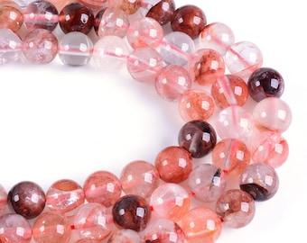 8mm Red Phantom Quartz round gemstone loose beads strand 16''