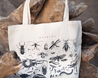 Insects Entomology Scientific Illustration Tote Bag - Recycled Canvas Shoulder Bag | Bugs Biology Ecology Gardening Plants Science Gift