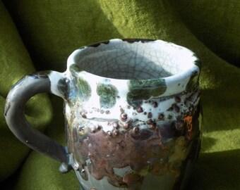 "Ceramic Mug in the technique of Raku "" Meteor shower"""