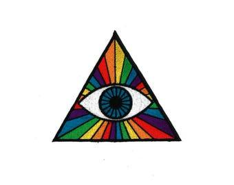 "PRISMATIC THIRD EYE 3"" Patch - Spectrum Rainbow Hipster Pastel Applique Music Festival Bohemian Denim Jacket Jean The Dark Side of The Moon"