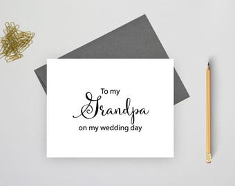 To my grandpa on my wedding day card, folded wedding cards, wedding stationery, folded note cards,  wedding stationary, wedding notes