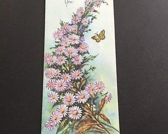 Vintage (Unused)  cheerful greeting card, purple daisies, butterfly, Sunshine