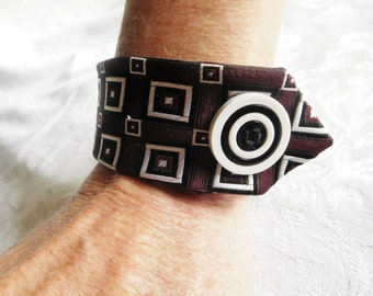 Maroon and White Silk Cuff Bracelets,Up-cycled Neckties,Vintage Fabric Bracelet,Silk Tie Bracelet,Texas A&M, Teacher's Gifts, Gifts under 15