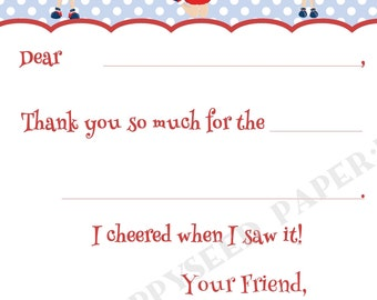 Cheerleader Fill In Thank You Notes- Cheer- Kids- Children- Stationery- Birthday Party
