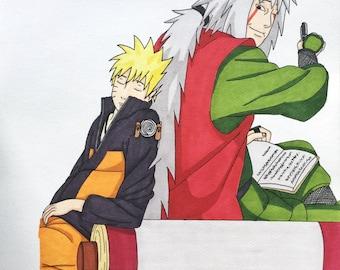 Illustration A4 Naruto and Jiraiya