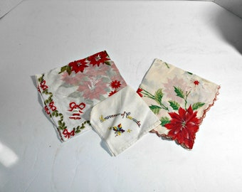 Old Christmas Handkerchief,Canada Souvenir Hanky,Christmas Hankies,Christmas Handkerchief,Poinsettia Christmas Handkerchief,Poinsettia Hanky