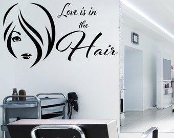 Love Is In The Hair & Beauty Salon Sign Vinyl Sticker Decal Decoration