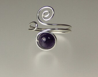 Amethyst sterling silver scroll Ring Sterling silver Bridesmaids gifts Free US Shipping handmade anni designs