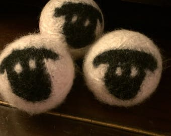 Set of 3 SHEEP- 100% wool dryer balls