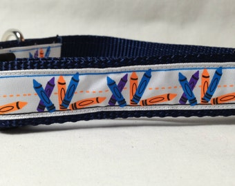 Dog Collar, Crayon,School, Student,1 inch wide, adjustable, quick release, metal buckle, chain, martingale, hybrid, nylon