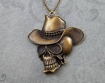 Cowboy Necklace LARGE Cowboy Skull Necklace Cowboy Jewelry Skull Jewelry Skeleton Necklace Skeleton Jewelry Western Necklace Bronze Brass