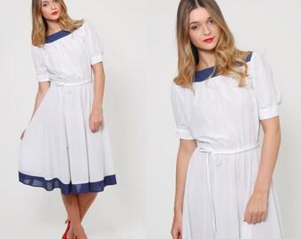 Vintage 70s NAUTICAL Dress Navy & White POLKA DOT Day Dress Belted Midi Dress