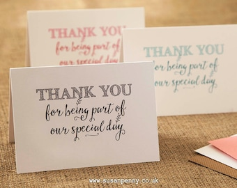 Wedding Thank you Card...Caterers Florist Hairdresser Band DJ... Thank you for being part of our special day...4 envelope colours, A6 WED011
