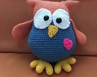 Toy plush owl hooked handmade