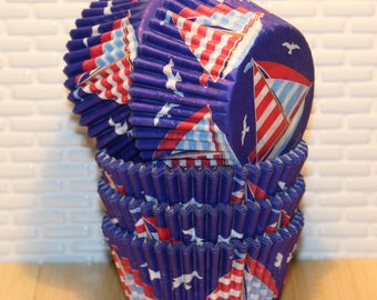 Sailboat Cupcake Heavy Duty Liners (Qty 32)  Sailboat Cupcake Liners, Sailboat Baking Cups, Sailboat Muffin Cups, Cupcake Liners, Baking Cup