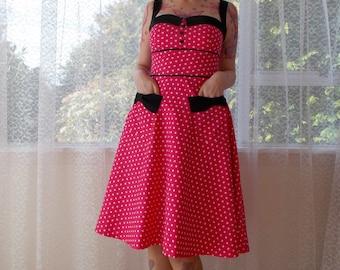 Rockabilly 1950s 'Jenny' Polka Dot Dress with Sweetheart Neckline, Black Lapels and Bow Pockets - Any Colour - Custom made to fit