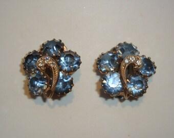 Deep Sky Blue Rhinestone Clip Earrings