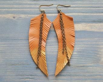 Orange Earrings. Leather Feather Earrings. Long Earrings. Boho Earrings. Country Chic Jewelry. Cowgirl Earrings. Bohemian Jewelry. Boho chic