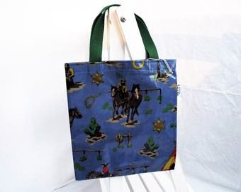 Childs flat tote bag cowboys and indians oilcloth book bag