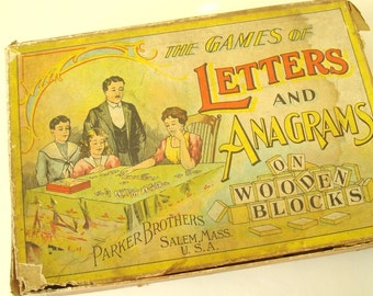 Antique anagrams game set, Parker Brothers letter & word game in 1900s original box, turn of the century word game, film prop