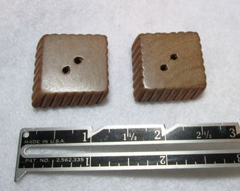 Pair of Square Rustic Carved Wood Buttons