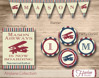 Airplane Birthday Party Package: 10 Items, Airplane Kit, Airplane Decorations, Airplane Decor Pack Party Circles Banner Favor Cupcake Tent