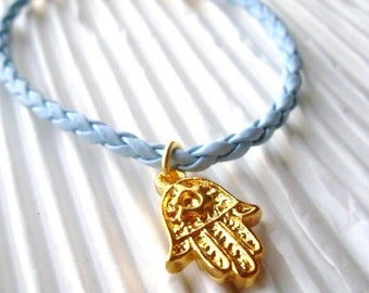 Gold Hamsa Charm Faux Leather Bracelet Light Blue, present, unisex, for Her, for Him, Holiday gift, Stocking Stuffer, Thank you gift
