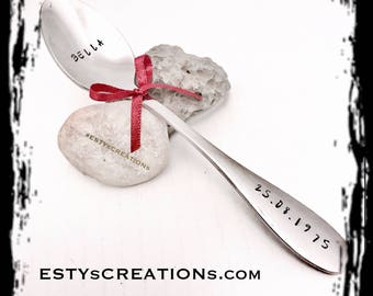 Personalized spoons hand stamped spoons engraved spoon sets wedding gift anniversary gift birthday gift, housewarming gift, named spoons