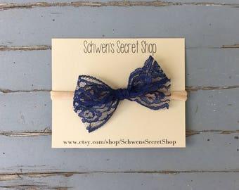 Navy lace bow, baby girl headband, baby girl bow, nylon headband, baby headband, newborn headband, infant headband, baby hair bow