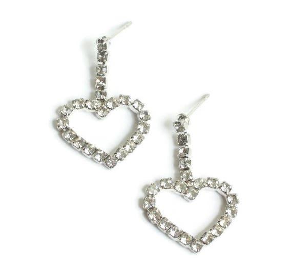 Open Heart Clear Crystal Dangle Earrings Posts Vintage