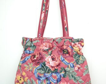 VINTAGE 70s 80s Quilted Tote Bag Large Pink Floral Double Straps Carry All Retro