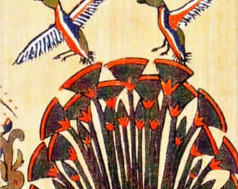 Geese Flying over Papyrus Magnet. Perfect gift for bird watchers, bird lovers, egypt collectors