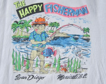 "Vtg 1990's XXX NAUGHTY The Happy Fisherman Graphic Tee T-Shirt XL 48"" Chest Blow Job Fish San Diego"