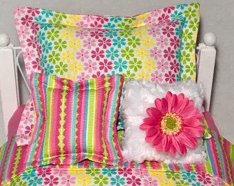 "Rainbow FLOWERS 18"" Girl Doll Bedding Set Stripes Pink Green Blue Yellow Blanket Pillow"