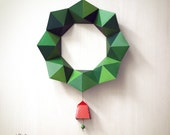 DIY Paper Christmas Wreath Papercraft / Decor | Geometric Design: 2 sizes with Bells | Printable A4 templates | Instant digital download