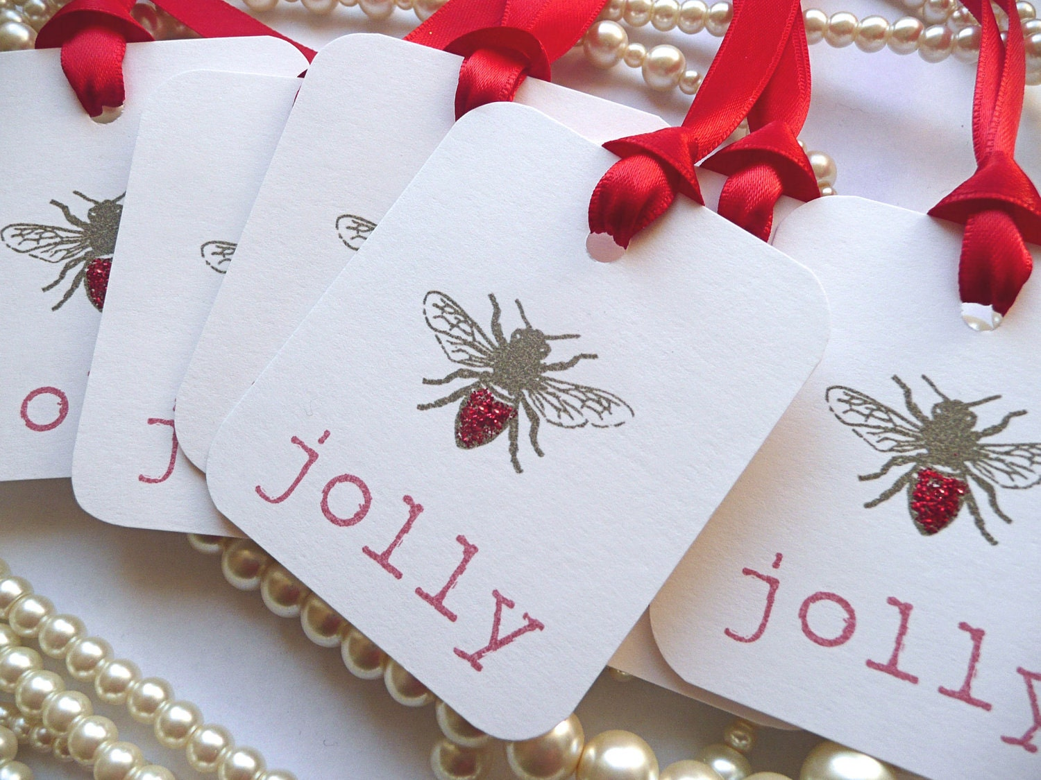 BEE JOLLY Tags, Bee Gift Tags, Wedding Favor Tags, Positive Thoughts ...
