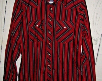 Vintage Wrangler Boys Pearl Snap Up Western Shirt Size XL 14 16