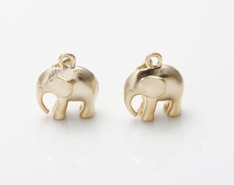 Elephant Brass Pendant Matte Gold-Plated - 2 Pieces [AA0088-MG] Favorite