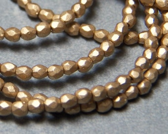 Czech 3mm Matte Gold Faceted Round Fire Polished Glass Beads (50)