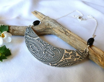 Half moon pendant, Sterling silver paisley necklace with oval twisted glass beads