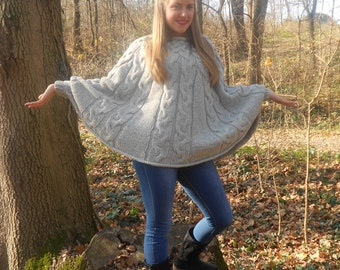 Hand knitted poncho, Braided cape sweater, Fall fashion cabled poncho, Gray poncho, Fall trend, Handmade poncho, Wool poncho, Winter poncho