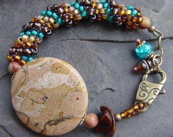 Handwoven Peyote Spiral Picture Jasper Focal, Brass and Apatite Bracelet - Earthy, Tribal, Southwest, Boho