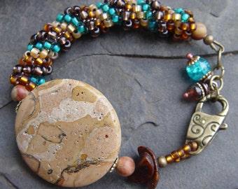 Handwoven Peyote Spiral Picture Jasper Focal, Brass and Apatite Bracelet - Earthy, Tribal, Southwest, Boho