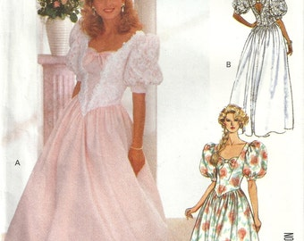 Butterick 4563 Vintage Formal Gown Wedding Dress Bridesmaid Sewing Pattern Size 6 - 8 - 10