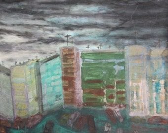 Expressionism cityscape oil painting signed